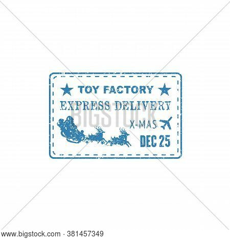 Express Delivery Post Stamp With Santa Claus, Sleigh And Deers Isolated. Vector Xmas Air Mail Postma