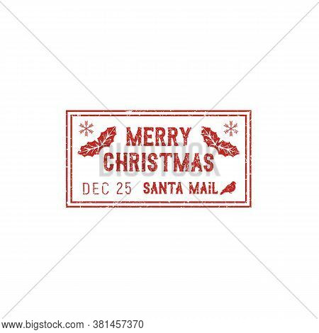 Merry Christmas Post Mark, Isolated Santa Mail Stamp. Vector Grunge Postage Sign With Birds And Mist