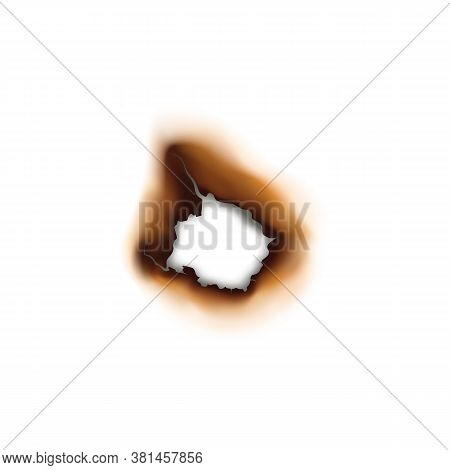 Paper Sheet Damaged By Fire Isolated Burnt Hole. Burnt Hole In Sheet Of Paper Isolated Damaged By Fi
