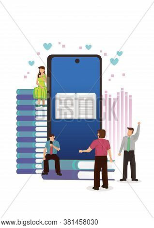 People  With Smartphone With Digital Book. Concept Of Media Book Library, E-book, Reading An Ebook,