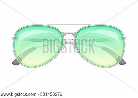 Aviator Sunglasses Or Shades With Metal Frames As Protective Eyewear Vector Illustration