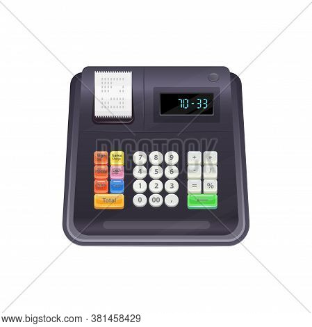 Machine Registering And Calculating Transactions At Point Of Sale Isolated Cash Register. Vector Bla