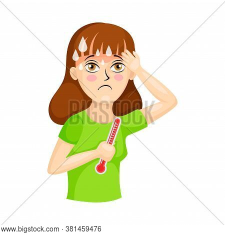 Young Woman Suffering From Virus Symptom Like High Temperature Vector Illustration. Female Needed Me