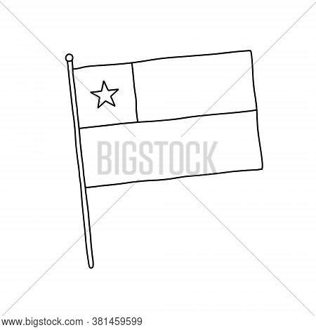 Chile Flag Vector, Outline Illustration. Vector Black And White Chile Flag.