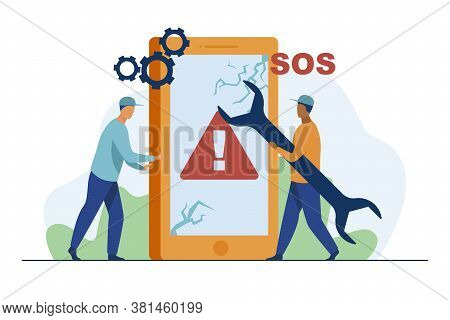 Broken Smartphone Repair. Technician With Wrench Fixing Phone With Cracked Screen Flat Vector Illust