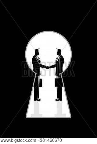 Business Concept Vector Illustration Of Two Businessmen Shaking Hands Seen Through A Keyhole, Busine