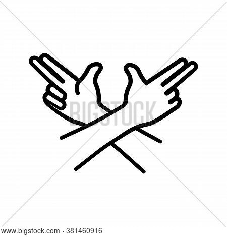 Gang Hands, Guns Icon. Hands Like A Pistol. Gangsters Crew. Mafia Sign. Vector On Isolated White Bac