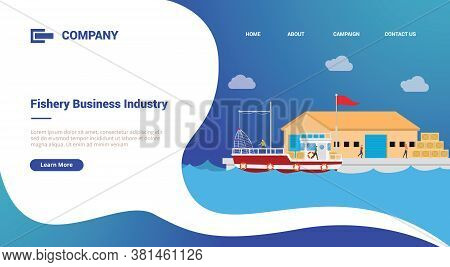 Fishery And Warehouse Port For Website Template Or Landing Homepage Banner