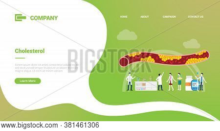 Cholesterol Human Vein With Doctor Analysis Healthcare For Website Template Or Landing Homepage Bann