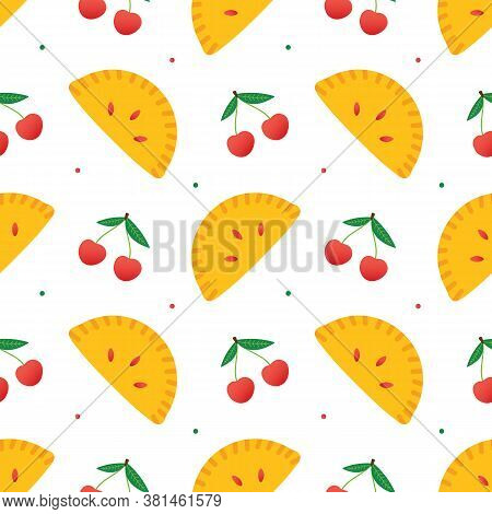 Cherry Turnovers, Pie, Sweet Pastry And Fresh Cherries Colorful Vector Seamless Pattern Background.