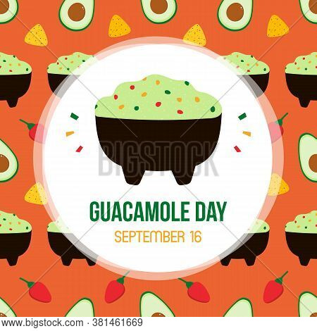 Guacamole Day Vector Card, Illustration With Cute Cartoon Guacamole Dip And Vegetables Seamless Patt