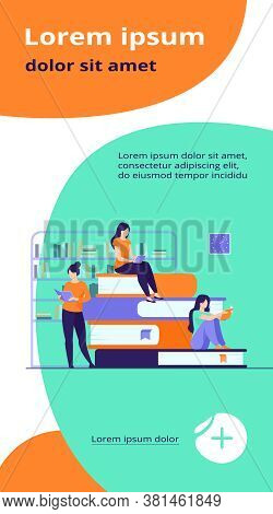 Book Readers Concept. People Sitting On Stack Of Books In Library, Women Reading Textbooks At Home,