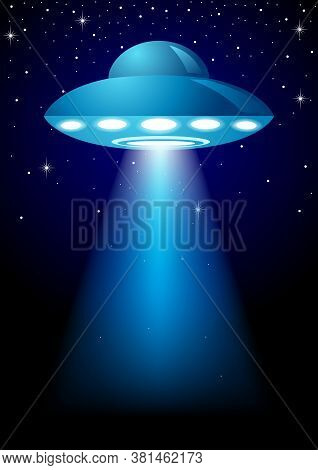 Unidentified Flying Object On Dark Background, Vector Illustration