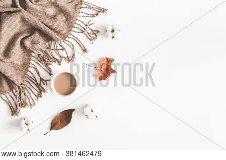 Beautiful Flatlay With White Background Tea And Leaf