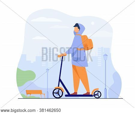 Young Man Riding Electric Scooter Isolated Flat Vector Illustration. Cartoon Hipster Riding Along Si