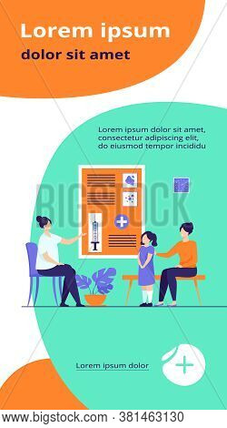 Children Vaccination Concept. Doctor Presenting Vaccine To Mother With Kid In Hospital. Flat Vector