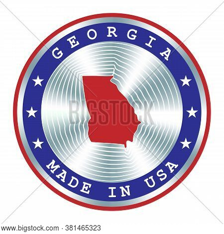 Made In Georgia Usa Local Production Sign, Sticker, Seal, Stamp. Round Hologram Sign For Label Desig