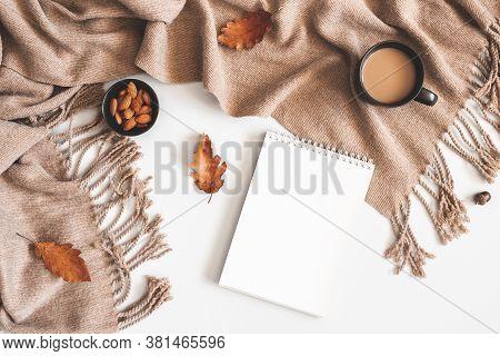 Flat Lay Coffee Almond And Writing Pad