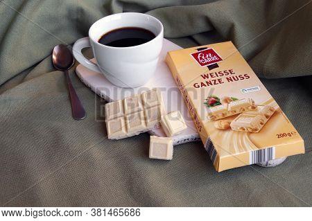 Kharkov, Ukraine - February 10, 2020: Fin Carre, Weisse Ganze Nuss German White Chocolate Bar With W