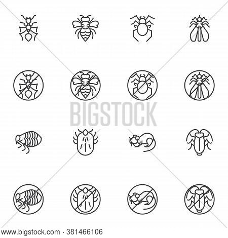Pest Insect Line Icons Set, Outline Vector Symbol Collection, Linear Style Pictogram Pack. Signs Log