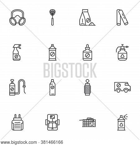 Pest Control Line Icons Set, Sanitary Disinfection Outline Vector Symbol Collection, Linear Style Pi