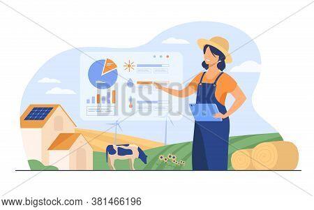 Happy Female Farmer Working On Farm To Feed Population Flat Vector Illustration. Cartoon Farm With A