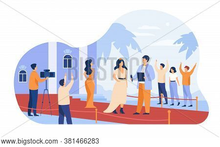 Celebrities Walking Along Red Carpet Isolated Flat Vector Illustration. Cartoon Famous People Posing