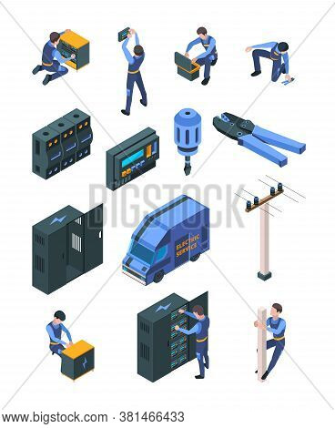 Electrician Working. Isometric People In Uniform Making Safety Electric Systems Vector Professional