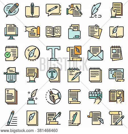 Copywriter Icons Set. Outline Set Of Copywriter Vector Icons Thin Line Color Flat On White