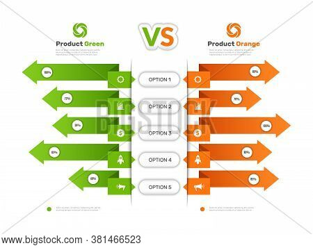 Comparison Chart. Infographic Table With Compare Business Info Products Comparison Tariff Price List