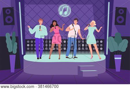 Karaoke Club. Performance Concert Adult People Group Of Singers On Music Stage Vector Nightclub Back