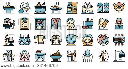 Masseur Icons Set. Outline Set Of Masseur Vector Icons Thin Line Color Flat On White