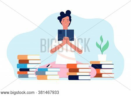 Reading Girl. Student With Book, Happy Woman And Stacks Of Books. Self Education, Studying Or Exam P