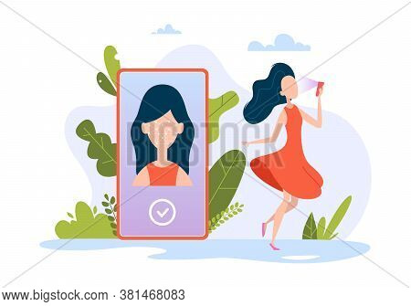 Smartphone Face Id. Ultraviolet Biometrical Recognition Smart Identification Of People Business Tech