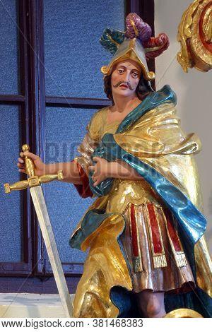 KLANJECKO JEZERO, CROATIA - NOVEMBER 06, 2013: Saint Martin, statue on high altar in chapel of Saint George at the Lake in Klanjecko Jezero, Croatia