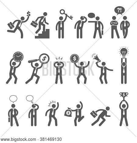 Business Figures. Simple Stick Characters In Action Poses Managers Bosses Working Man Business Conve