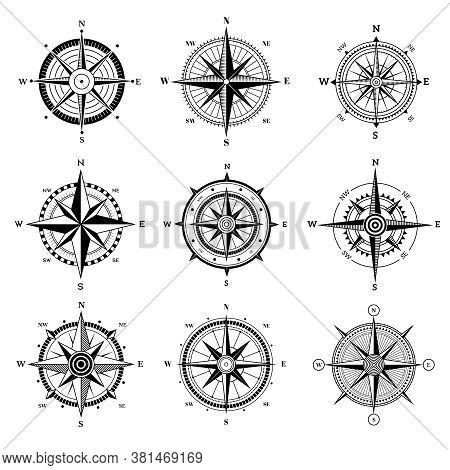 Wind Rose Set. Travel Adventure Sailing Nautical Rose Destination Directional Arrows Vector Navigati