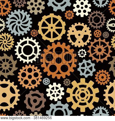 Gears Pattern. Round Shape Technical Circle Shapes Mechanical Vector Seamless Background. Gear Seaml