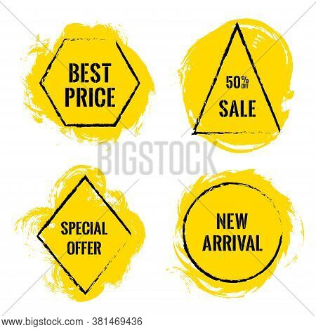 Yellow Marketing Banners For Summer Sale. Advertising Banners With Geometric Borders, Brush Stroke B