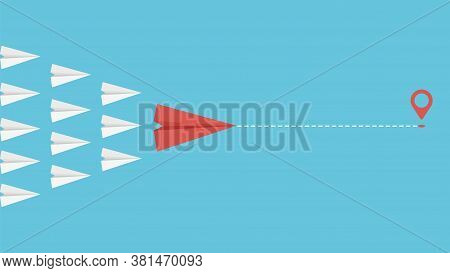 Team Leader Concept. Business Motivation Leadership Metaphor. Paper Planes Flying Together Vector Il