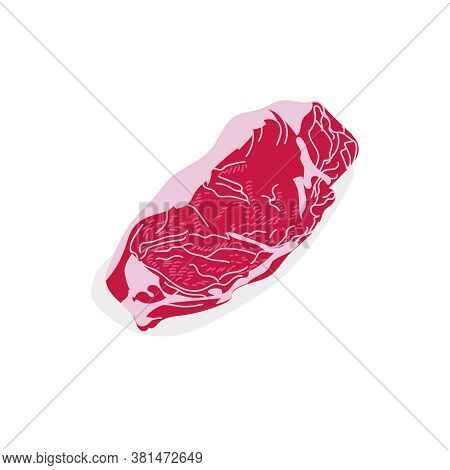 Raw Sirloin Meat Slice. Fresh Uncooked Nutritious Product. Butchery Shop, Farm Market Or Processing