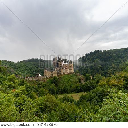Wierschem, Rhineland-palatinate / Germany - 1 August 2020: View Of The Beautiful Eltz Castle In The