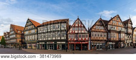 Celle, Niedersachsen / Germany - 3 August 2020: Panorama View Of The Old City Center Of Celle With I