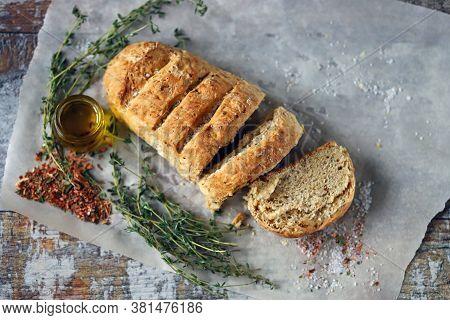 Delicious Fresh Homemade Bread. Italian Bread With Herbs.