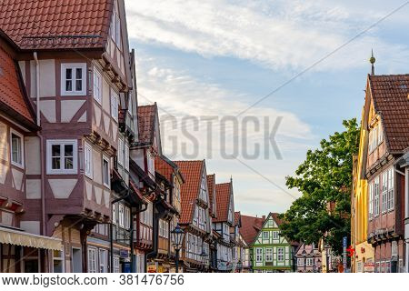 Celle, Niedersachsen / Germany - 3 August 2020: Detail View Of The Beautiful Half-timbered Houses In