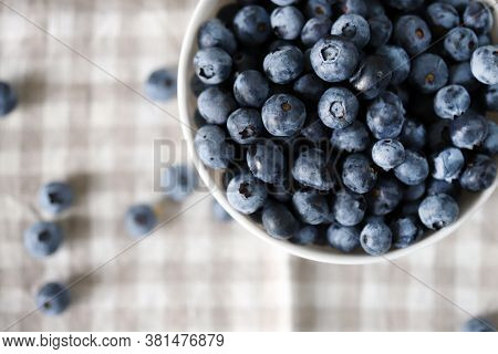 Selective Focus. Soft Focus. Macro. Blueberries. Fresh Blueberries With A Bloom.
