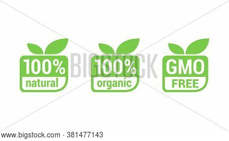 100 Natural, 100 Organic, Gmo Free - Tag For Healthy Food, Vegetarian Nutrition In Modern Leaf Shape