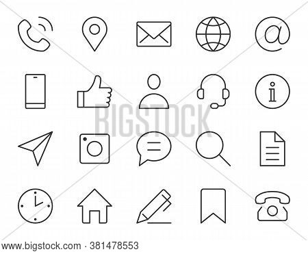 Contact Us Line Icon. Minimal Vector Illustration With Simple Outline Icons As Phone, Email, Web Sit