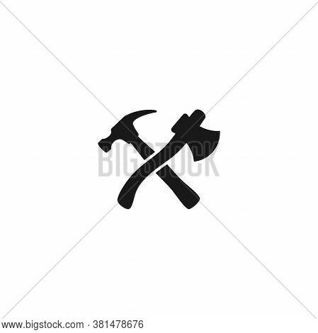 Black Crossed Carpenter Hammer And Axe. Handyman, Locksmith