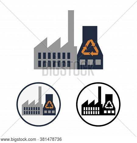 Simple Flat Schematic Clipart Of Garbage Recycling Plant. Round Vector Icon Or Logo For Waste Recycl